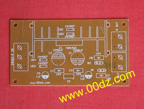 5w r1, r2 2 功放集成电路 tda1521 ic 1 电路板 10.44mm*5.